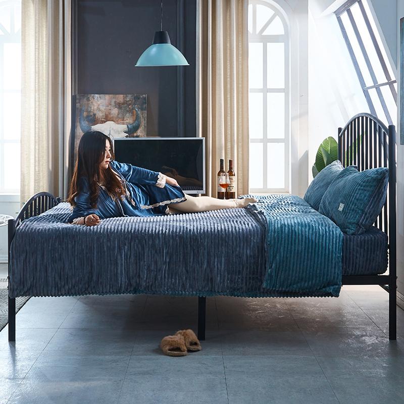 现代简约铁艺床1.8米双人床欧式公主床单人床儿童铁架床1.5米铁床