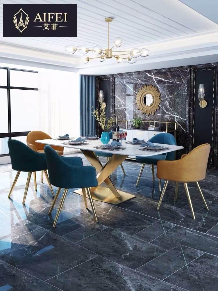 艾菲 轻奢大理石餐桌北欧创意8人家用港式后现代长方形餐桌椅组合