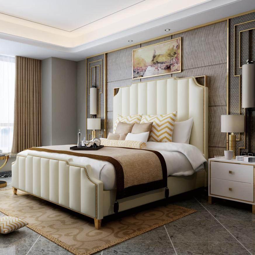 艾菲 后现代轻奢床美法式真皮简约主卧室家具双人网红港式轻奢床