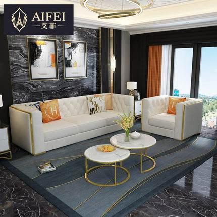 港式后现代布艺沙发组合美式轻奢小户型客厅港式科技布免洗三人位
