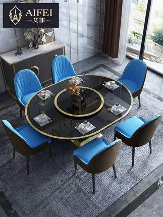 后现代餐桌椅多功能可折叠伸缩餐台组合家用电磁炉饭桌轻奢圆餐桌