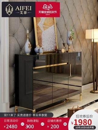 后现代港式鞋柜 不锈钢简约家用大容量玄关柜 美式轻奢实木收纳柜
