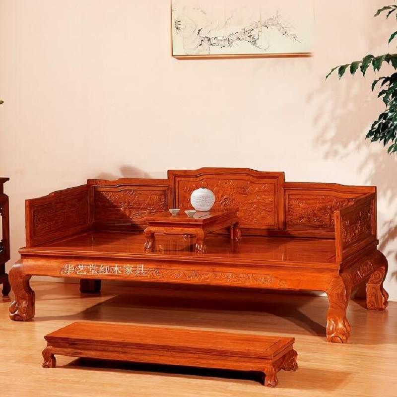 红木家具罗汉床刺猬紫檀客厅三件套沙发床榻仿古中式花梨木罗汉床
