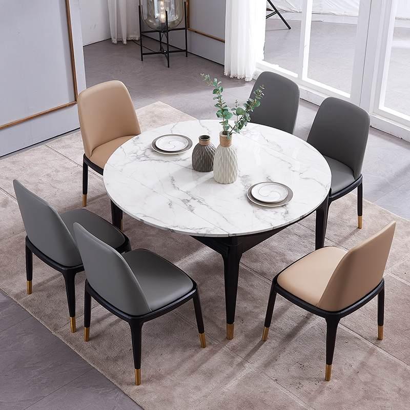 北欧后现代简约大理石伸缩折叠圆形餐桌轻奢实木小户型餐桌椅组合