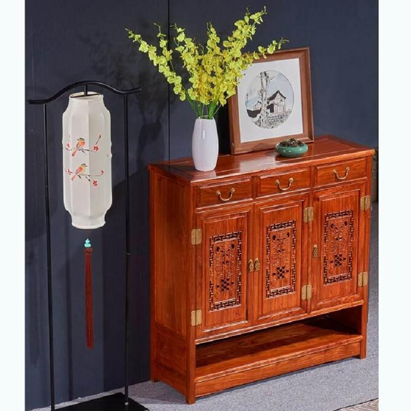 红木鞋柜实木大容量多层花梨中式刺猬紫檀家用雕花入门厅柜