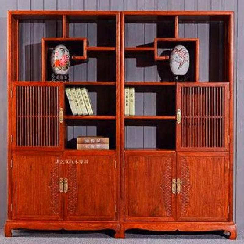红木博古架实木书柜花梨木刺猬紫檀办公家具新中式书柜带门组合