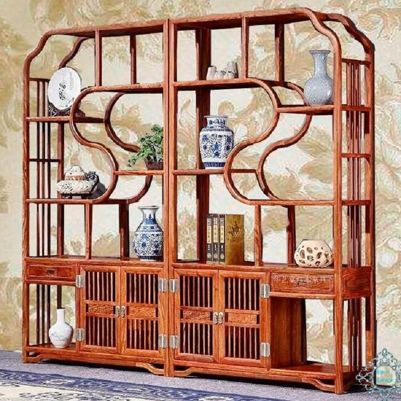 博古架中式实木多宝格刺猬紫檀小摆件茶叶柜花梨木玄关隔断展示柜