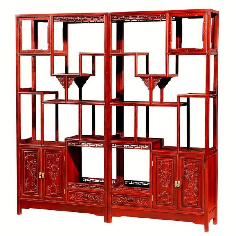 博古架实木中式置物架花梨木刺猬紫檀多宝阁展示陈列柜玄关柜隔断