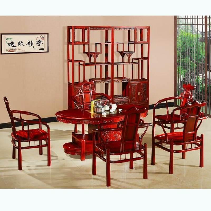 红木茶桌茶台南菲大红酸枝茶桌椅组合中式明清实木功夫茶几红木家具