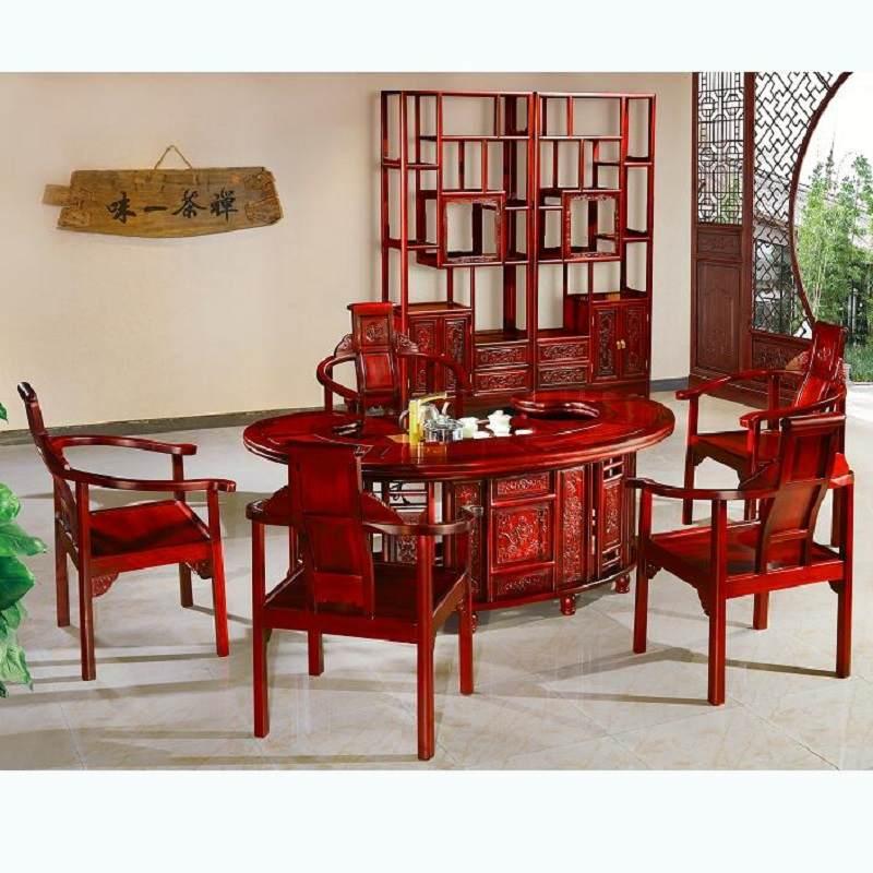 酸枝木客厅茶桌椅组合六件套茶几中式实木仿古泡茶桌红木家具