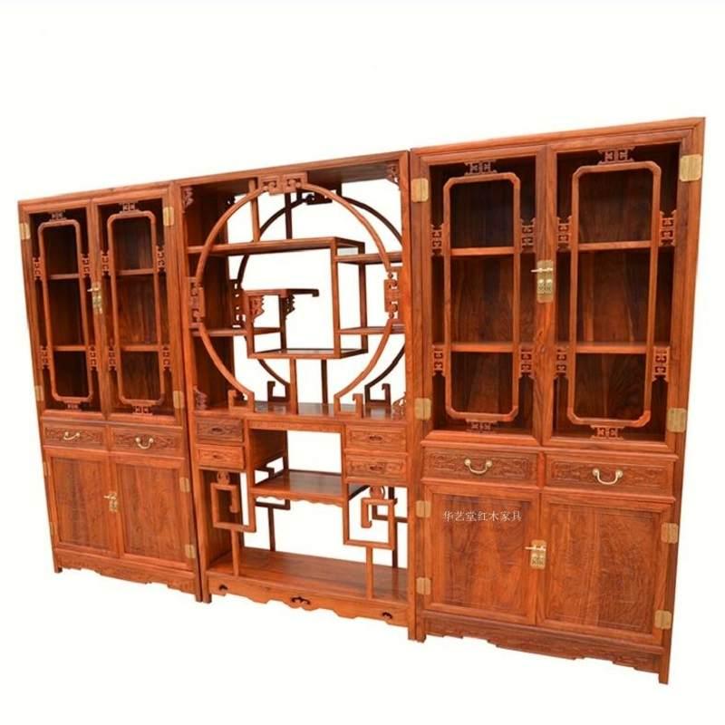 红木家具刺猬紫檀书柜组合博古架中式实木书橱花梨木书房古董架