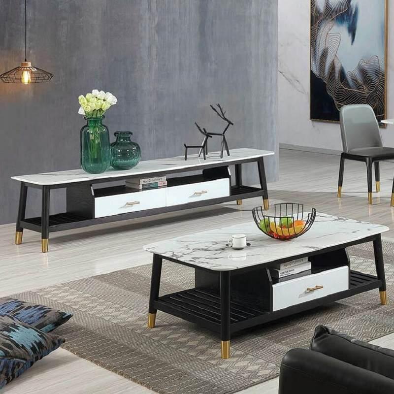 北欧大理石茶几电视柜组合轻奢创意客厅实木茶几简约现代小户型
