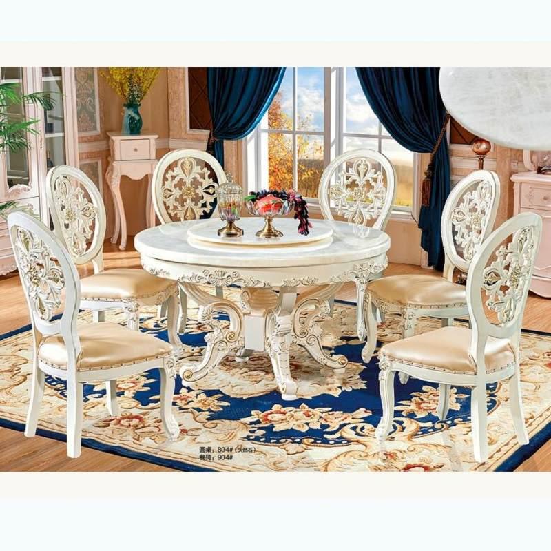 欧式大理石餐桌 椅组合实木家用圆形现代简约小户型带转盘圆桌