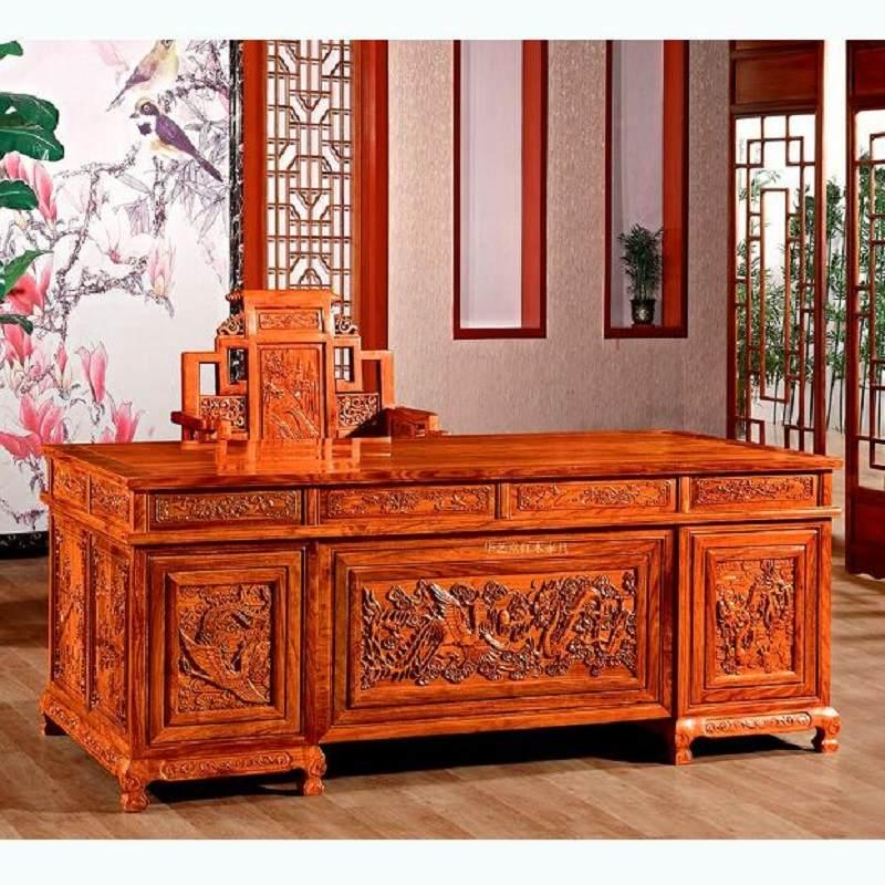 红木办公桌刺猬紫檀大班台写字台中式实木老板桌家具