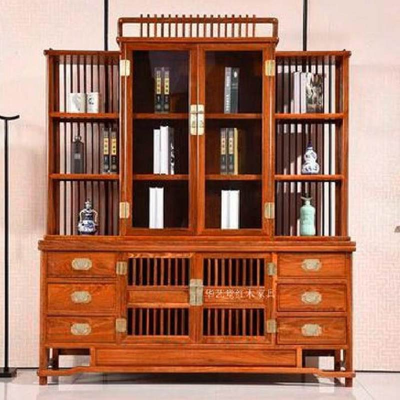 书柜书架书橱组合储物格子柜展示柜红木刺猬紫檀中式仿古储物实木