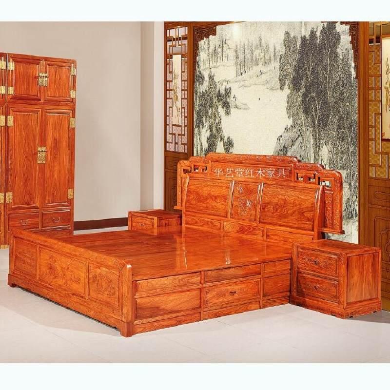 红木大床1.8米双人床刺猬紫檀花梨木中式双人床仿古实木床婚床