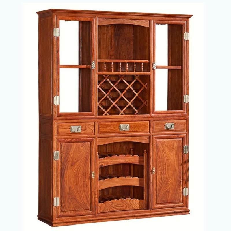 红木酒柜新中式刺猬紫檀展示柜花梨木隔断柜实木餐边红酒柜玻璃柜