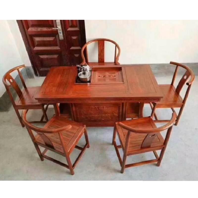 红木茶桌椅组合 刺猬紫檀实木茶几仿古泡茶艺桌办公室花梨木茶桌