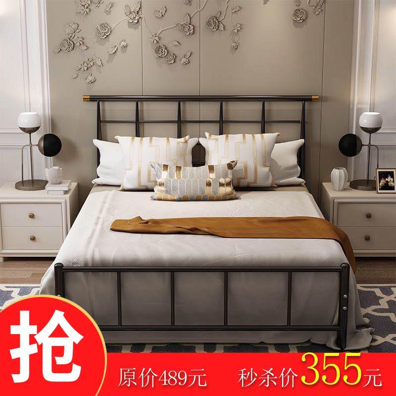 铁艺床单双人ins轻奢床北欧简约1.5铁架床1.2米1.8出租房公寓床