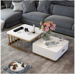 轻奢北欧风伸缩折叠茶几现代简约客厅小户型钢化玻璃白色方形茶几