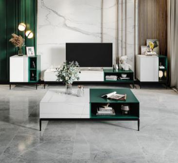 现代简约意式岩板电视柜茶几组合套装地柜小户型家用客厅储物柜子
