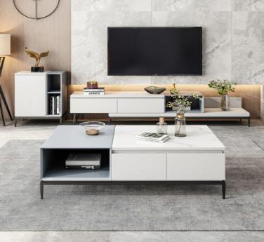 岩板茶几电视柜组合简约现代小户型客厅家用北欧网红意式极简茶几