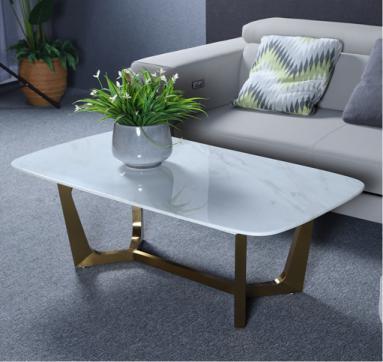 北欧简约现代金属茶几小户型客厅茶几长方形大理石茶桌创意桌子