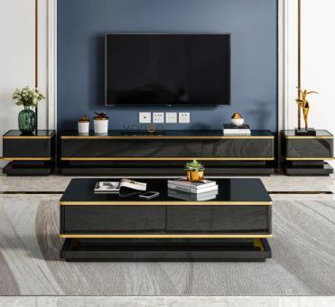 轻奢电视柜茶几组合现代简约小户型客厅家具钢化玻璃新款储物地柜