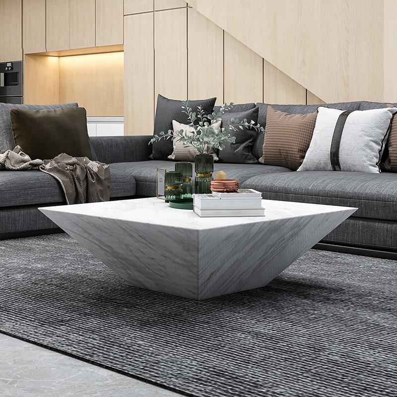 北欧轻奢大理石茶几小户型后现代简约意式风格客厅极简正方形茶几