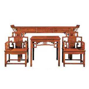 仿古家具中堂组合四件套供桌佛台实木太师椅香樟木八仙桌中式沙发椅