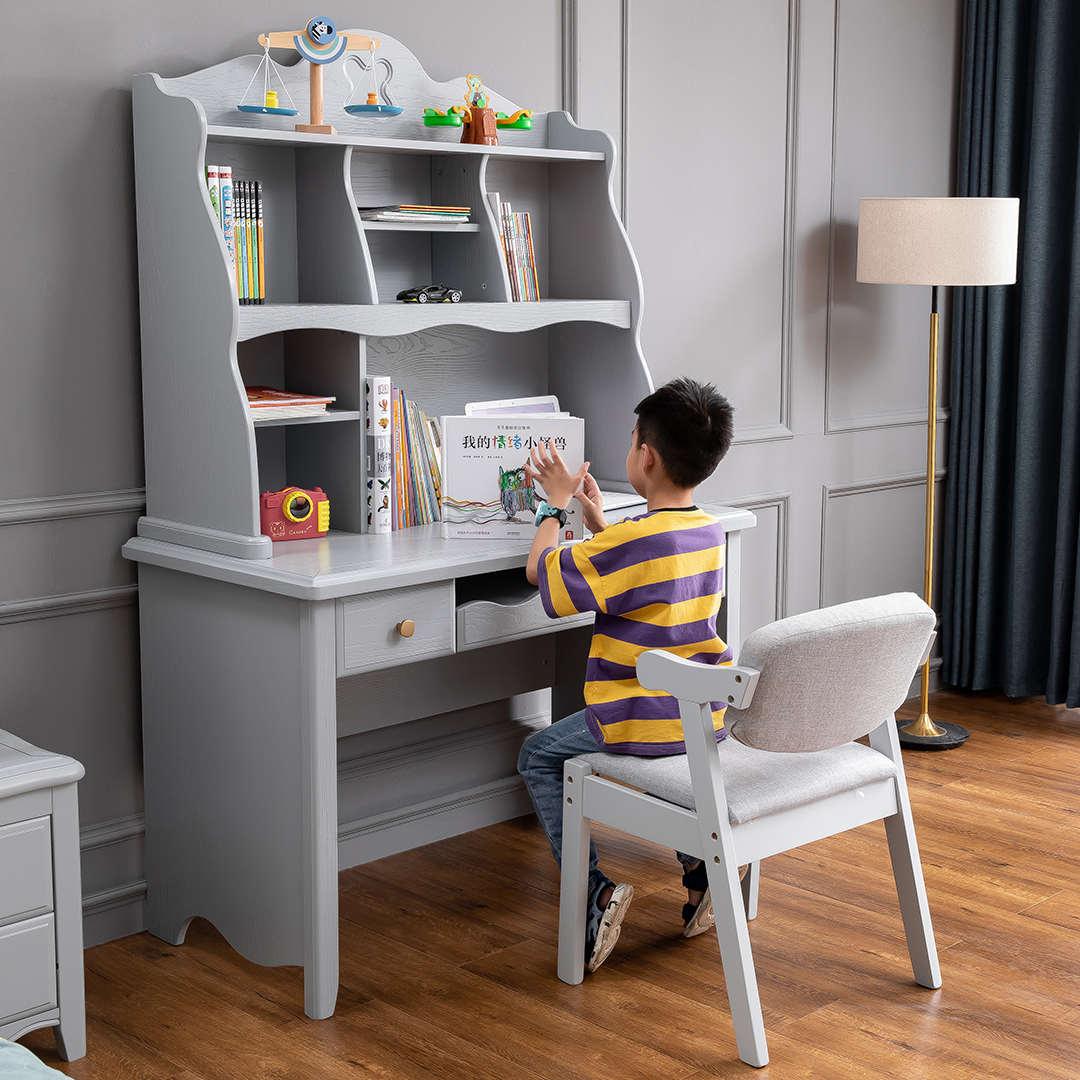 儿童实木书桌书柜一体现代小学生学习写字桌两用简约卧室书架组合