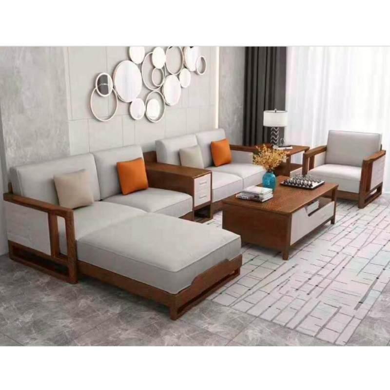 新中式金丝胡桃木沙发组合客厅大小户型转角北欧g风木质贵妃沙发