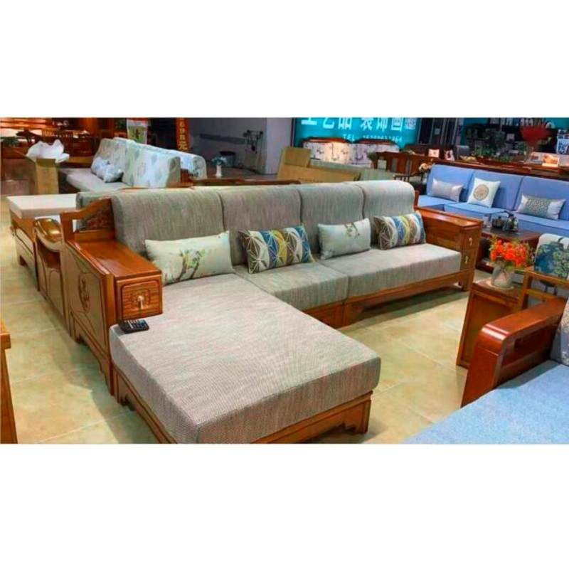 胡桃木实木沙发组合冬夏两用储物高箱现代新中式简约布艺贵妃沙发