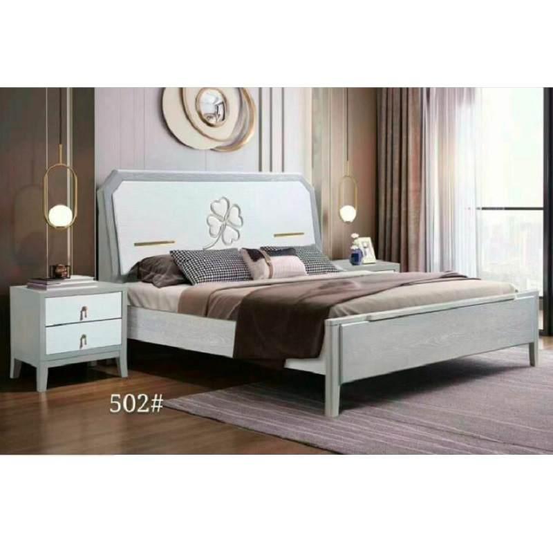 北欧轻奢实木床1.5现代简约白色拼色带软靠包1.8米主卧婚床双人床