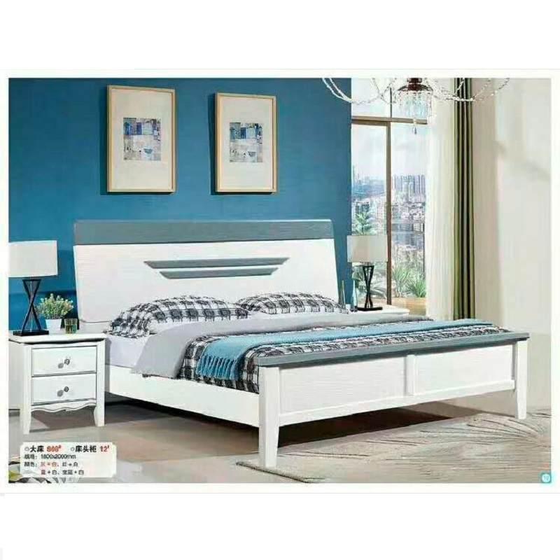现代简约实木床1.8米双人床主卧1.5单人结婚白色压纹红橡木储物床