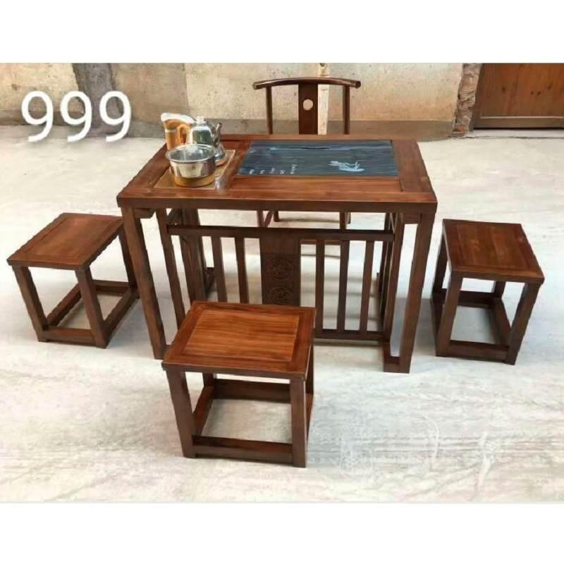 老船木茶桌椅组合方向舵创意功夫茶桌仿古整装客厅家用实木喝茶桌
