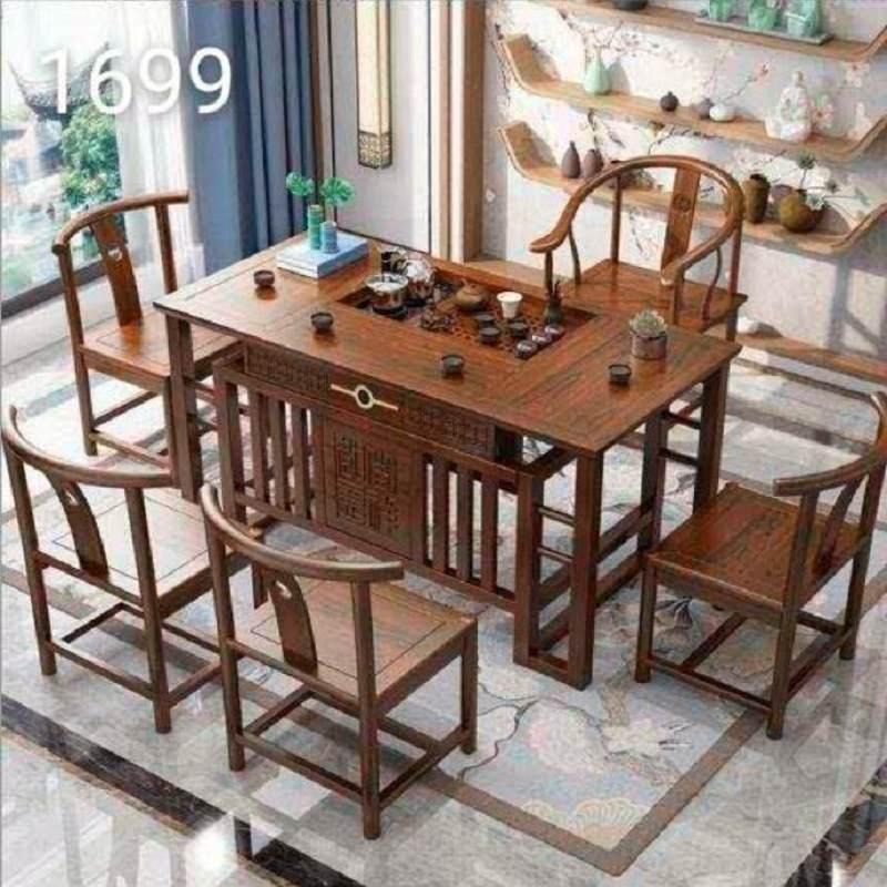 茶桌椅组合中式茶具套装桌子一体实木家用榆木小泡茶台喝功夫茶几
