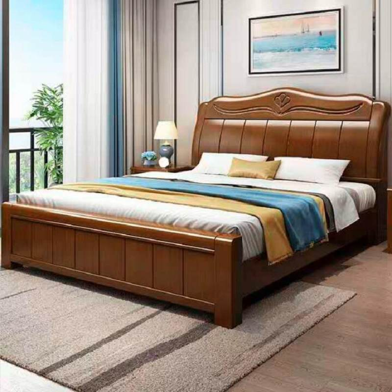 实木床现代简约主卧双人1.8米床架1.5米橡木大婚床工厂直销中式床