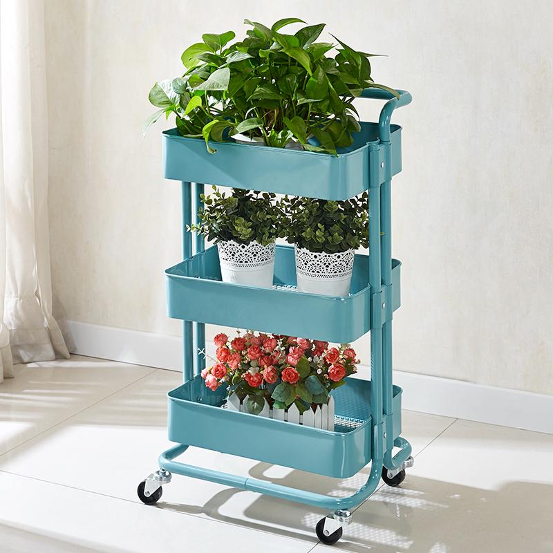 宜家手推车厨房置物架带轮移动落地收纳架子多层卫生间浴室储物架