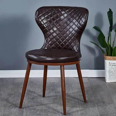 北欧餐桌椅子现代简约铁艺化妆美甲凳子软包靠背家用餐厅休闲餐椅