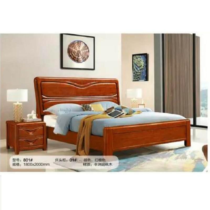 现代简约中式实木床1.8米双人床1.5米高箱储物床主卧婚床轻奢家具