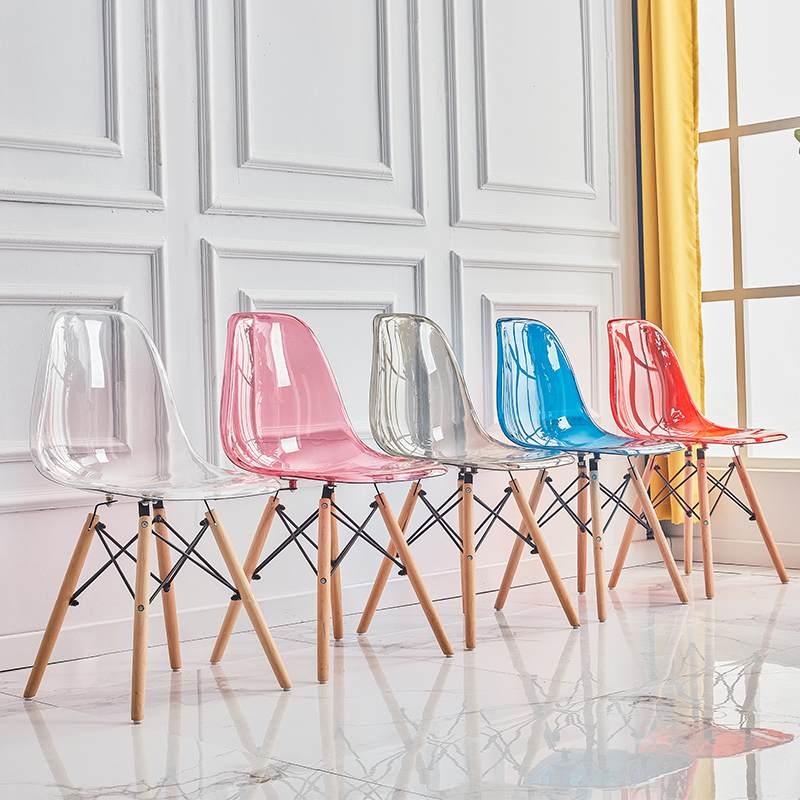 伊姆斯椅子现代简约家用靠背凳子北欧洽谈幽灵书桌椅透明塑料餐椅