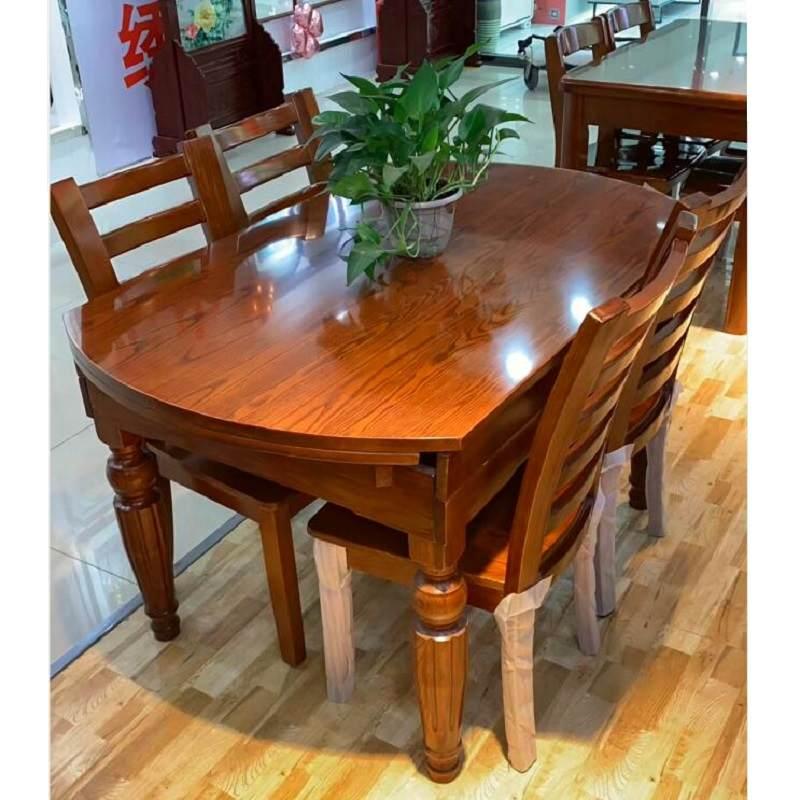 美式全实木餐桌椅组合餐桌家用可伸缩折叠圆桌现代简约小户型饭桌