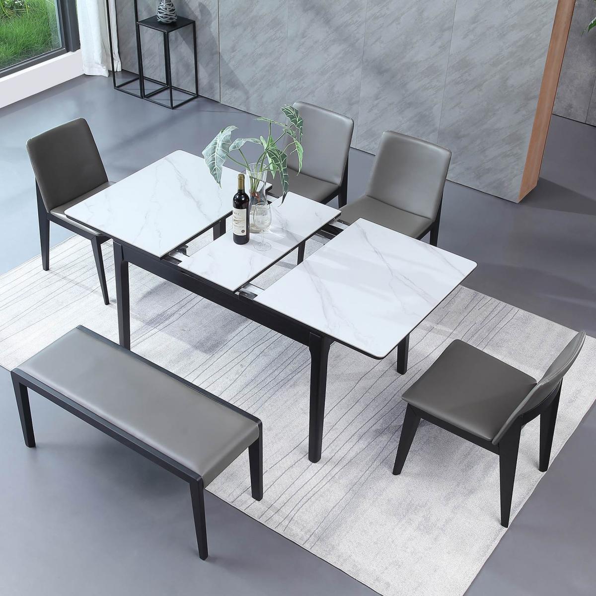 岩板餐桌意式极简岩石家用长方形小户型北欧实木可伸缩餐桌椅组合