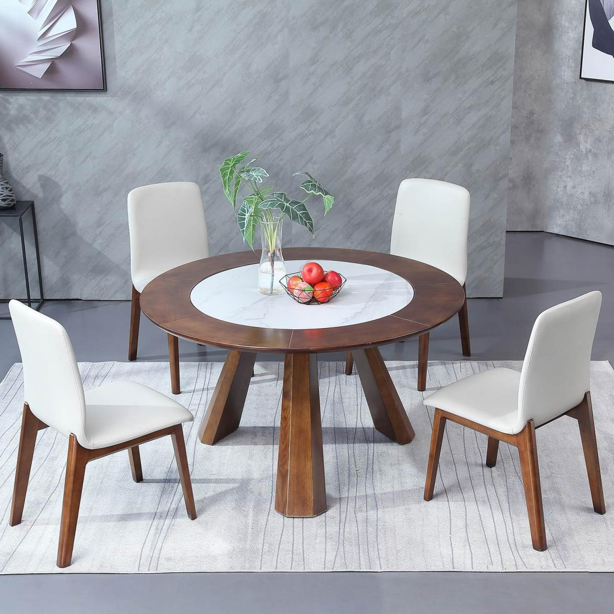 北欧岩板餐桌椅组合简约现代轻奢大理石伸缩折叠饭桌实木圆形餐桌