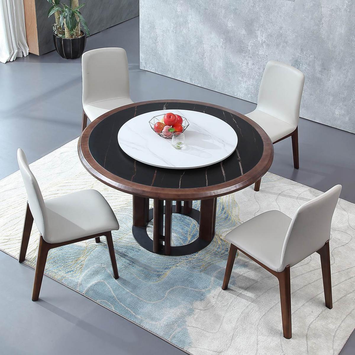 进口岩板圆形餐桌大理石圆桌带转盘家用北欧黑胡桃木色餐桌椅组合
