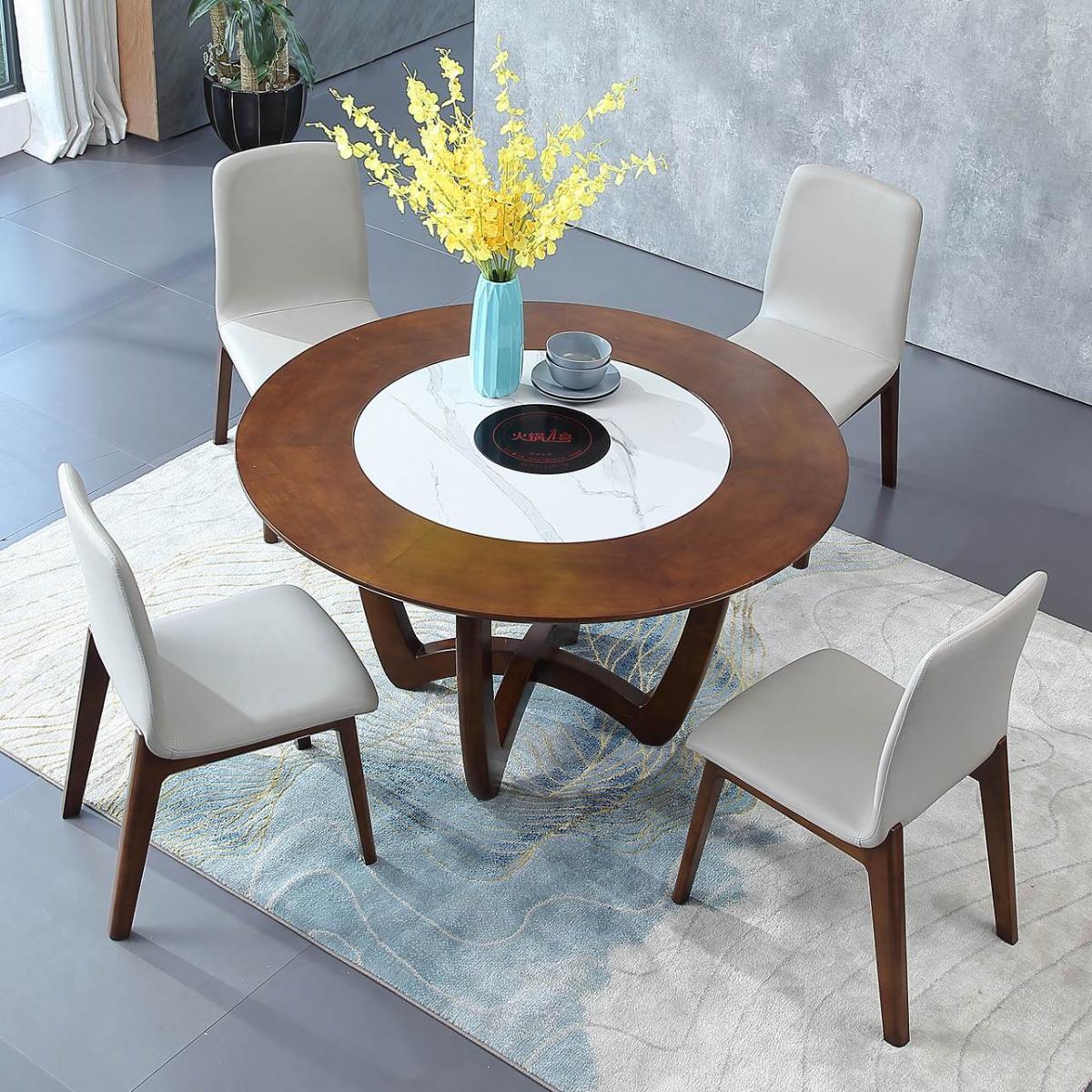 岩板内嵌式实木圆形餐桌椅组合带电磁炉1.2米大户型全实木圆桌