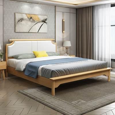 北欧风格实木床1.8米双人床橡木简约现代1.5米小户型主卧室婚床