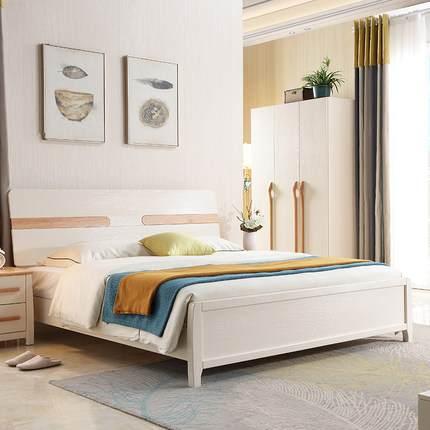 红橡木北欧实木床现代简约1.8米双人床1.5米卧室经济型储物床 015