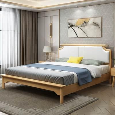 北欧现代简约原木软靠床1.8米双人实木床1.5m小户型主卧橡木婚床